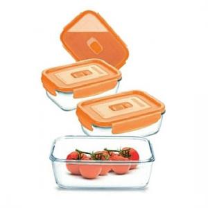 Набор котейнеров Pure Box Rect Orange 4штуки (крышка с клапаном)