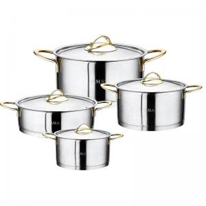 Набор кастрюль нержавеющая сталь для индукции из 8 предметов 1012-Gd