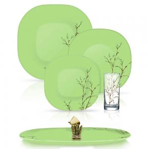 Столовый Сервиз Luminarc Carine Hana Green 19 предметов +6 стаканов на 6 персон