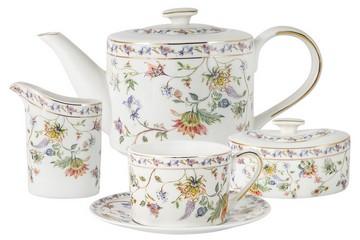 Чайный сервиз Флора (белая) из 15 предметов в подарочной упаковке
