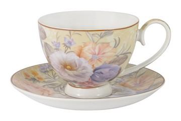 Чашка с блюдцем Цветочный вальс в подарочной упаковке