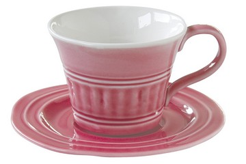 Чашка с блюдцем (тём.розовый) Abitare, большая, без инд.упаковки