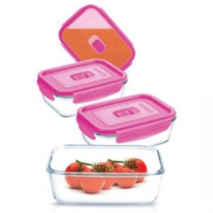 Набор котейнеров Pure Box Rect Pink 4штуки (крышка с клапаном)