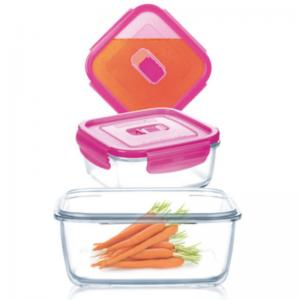 Набор котейнеров Pure Box Square Pink 3 штуки (крышка с клапаном)