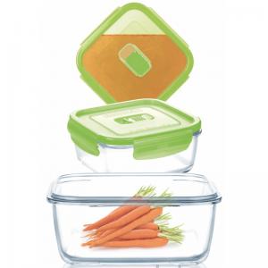 Набор котейнеров Pure Box Square green 3 штуки (крышка с клапаном)
