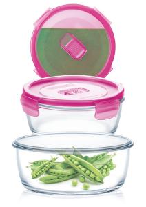 Набор котейнеров Pure Box Round Pink 3 штуки (крышка с клапаном)