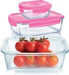 Набор котейнеров Pure Box Rect Pink 3 штуки + термосумка