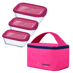 Набор котейнеров Keep`n Box Rect Pink 3 штуки + термосумка