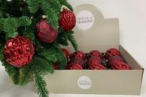 Набор Новогодних ШАРОВ 12 штук красный