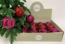 Набор Новогодних ШАРОВ 12 штук пурпурный/красный