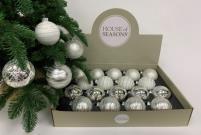 Набор Новогодних ШАРОВ 18 штук белый/серебро
