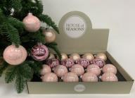 Набор Новогодних ШАРОВ 18 штук розовый