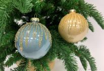 Набор Новогодних ШАРОВ 12 штук голубой/кремовый
